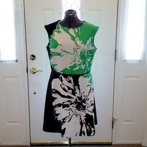 Christin Michaels Green & Black Dress 16 (14 fit )